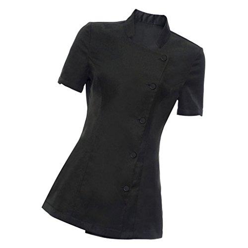 Uniforme Camiseta de Mujer de SPA de Terapeuta de Masaje de Túnica de Estética de Salon de Belleza - Negro, L