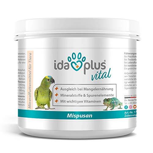 Ida Plus - Mispusan Pulver 200 g - Mineralfuttermittel mit Vitamin D3, Calcium & Spurenelementen für Amphibien, Reptilien & Vögel - Wellensittich, Kanarienvogel, Papageien & Bartagame - Mineralstoffe