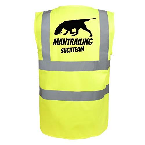 Mantrailing Warnweste Hundesport Sicherheitsweste Suchteam (Motiv 6) (S, Neongelb)