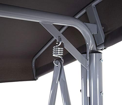 Mendler Hollywoodschaukel HWC-D62, Gartenschaukel Hängeschaukel Bank, 3-Sitzer verstellbares Dach 216x196x130cm grau - 5