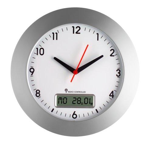 TFA Dostmann Analoge Funkwanduhr, 98.1092, digitale Datumsanzeige und Wochentag, gut ablesbar, mit Sekundenzeiger, silber