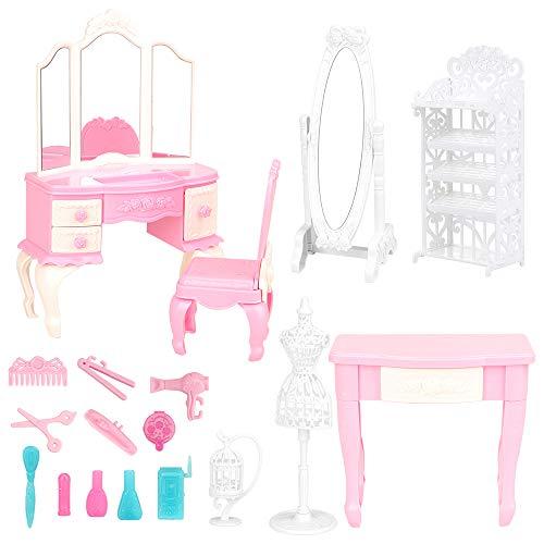 Barwa バービー用ドレッシングアクセサリー7セット(ドレッシングテーブル+ミラー+スツール+テーブル+鳥かご+靴箱+ブラケット)+ヘアカット5セット+香水6セット バービー人形用 寝室 家具用