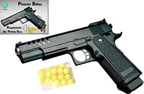 realistische Pistole für Kinder mit Muniton - Agenten Pistole - Kinderpistole - Erbsenpistole - Spielzeugpistole - Softair - Airsoft - Pistole schwarz