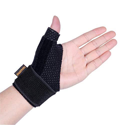 Thx4COPPER Kompression Reversible Daumen Bandage&Daumensattelgelenk,Daumenstütze,Daumenschiene für BlackBerry Daumen,Triggerfinger, Arthritis, Sehnenentzündung, Stabil, Atmungsaktiv-Daumenorthese-S/M