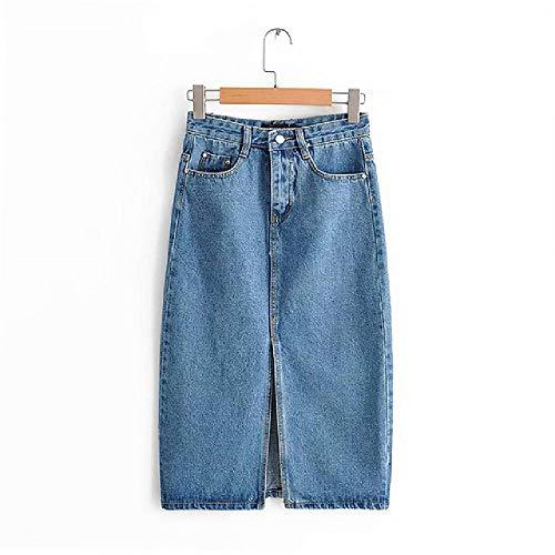 Gonne di Jeans Sexy per Le Donne GonneLunghe a metà Polpaccio alla Moda Gonna Longuette a Vita Alta da Donna Blu Tasca Vintage