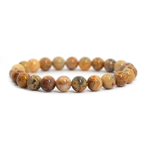 Natural Crazy Lace Agate Gemstone 8mm Round Beads Stretch Bracelet 7 Inch Unisex