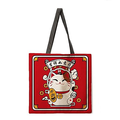 Bolsa de Playa para Mujer Bolso de Hombro Plegable Bolso de Compras Lucky Cat Print Tote Bag Bolsa de Asas Casual Reutilizable Reutilizable (Color : 16, tamaño : A)