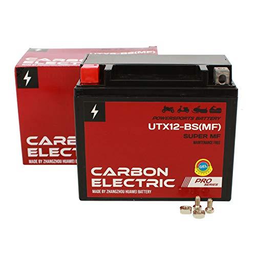 Carbon Electric YTX12-BS Gel Batterie UTX12-BS 12 V 10 Ah Wartungsfrei Versiegelt Motorrad Roller Motorradbatterie Rollerbatterie