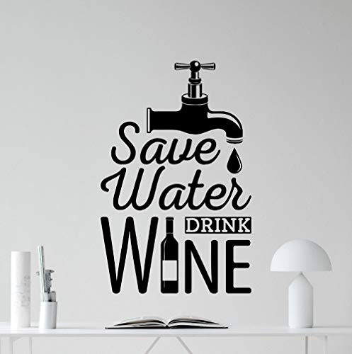 BailongXiao Nouveau Design économiser l'eau Boire du vin Cuisine Noir Sticker Mural Restaurant décoration Salle à Manger Murale Murale