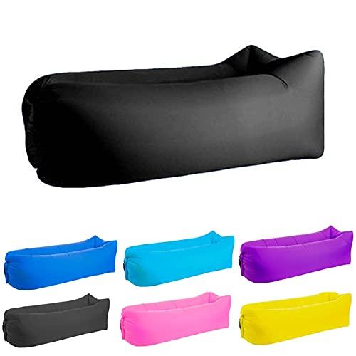EYLIFE Inflatable Sofa, Wasserdichtes Aufblasbare Couch, Air Lounger, Tragbares Aufblasbarer Sessel Erwachsene, Strand Gadget Luft Sitzsack mit Aufbewahrungstasche,Schwarz