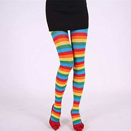 AmyGline Damen Streifen Strumpfhosen Regenbogen Streifen Over Knee Strümpfe Karneval Kostüme Makeup Tanzparty Cosplay