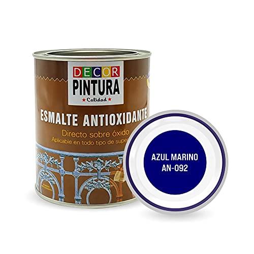 Pintura Azul Marino Antioxidante Exterior para Metal minio Pinturas Esmalte Antioxido para galvanizado, hierro, forja, barandilla, chapa para interiores y exteriores - Lata 750ml