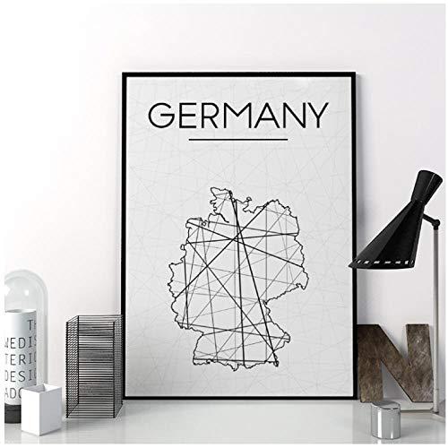 DLFALG Duitsland Kaart Prints Wall Art Poster, Abstracte Duitsland Kaart Poster Minimalistische Canvas Schilderen voor Woonkamer Woondecoratie 40x50cm geen Frame