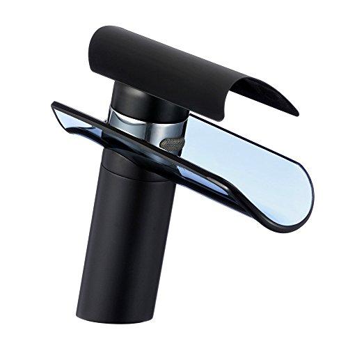 Glas Wasserfall Badarmatur schwarz lackiert Bad Wasserhahn Waschtischarmatur