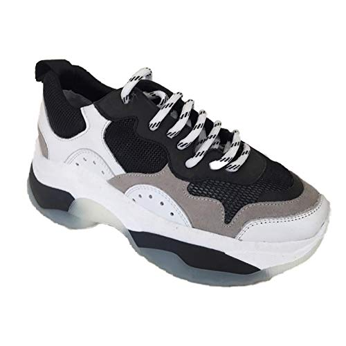 sneakers donna ovye Ovyè by Cristina Lucchi Art.RG03V76 Bianco/Nero Sneakers Pelle Fondo Alto Made in Italy (40 EU)