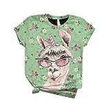 Plus Größe Tops Frauen O-Ausschnitt Kurz Ärmel Bluse 3D Giraffe Drucken Beiläufig T-Shirt