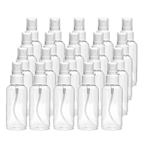20 Stück 30 ml transparente Kunststoff-Sprühflaschen, tragbar, nachfüllbar, wasserdicht und staubdicht, Make-up, feuchtigkeitsspendend und sterilisierend, kleine Spraydose, für drinnen und draußen