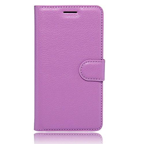 Qiaogle Teléfono Case - Funda de PU Cuero Billetera Clamshell Carcasa Cover para BLU Dash X2 (5.0 Pulgadas) - FC09 / Púrpura Estilo