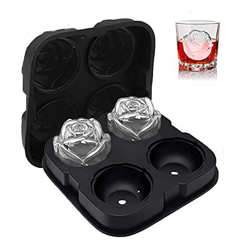 EiswüRfelform, EiswüRfelform Silikon Mit Deckel 4 Loch Kugel Eiswürfelform Rose, EiswüRfelbehäLt Zum AbküHlen Von Whisky Cocktail Bourbon und Hausgemachtem Saft
