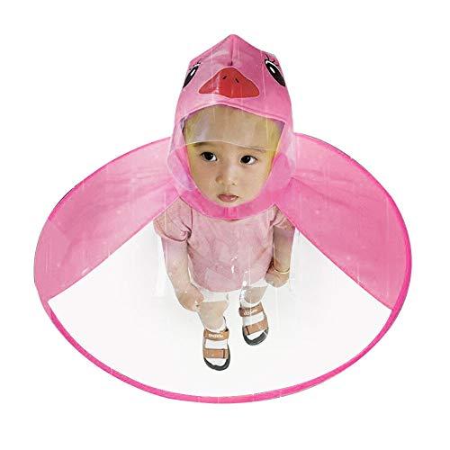 BaZhaHei Bambino Mantello Impermeabile Unisex Bambina Giacca Antipioggia Poncho con Cappuccio Mantella Pioggia Cappotto UFO Bambini Cappello Ombrello Magico Mani Libere Impermeabile (L, Hot Pink)