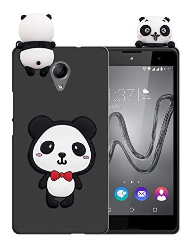 Sunrive Funda para Wiko Robby, Silicona Mate Funda Slim Fit Gel 3D Carcasa Case Bumper de Impactos y Anti-Arañazos Espalda Cover(W1 Panda 1) + 1 x Lápiz óptico