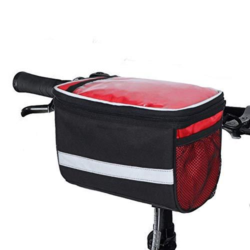 Bolsas Delanteras de la Bicicleta, Bolsa de Manillar de Bicicleta con Astilla Gris Raya Reflectante Actividad al Aire Libre Ciclismo Basket Frame Pack Accesorios Touchscreen (Color : Red)