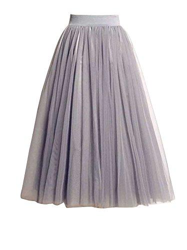 Falda Mujer Largo Cintura Elástica Tul De Noche Fiesta Prom Falda Gris S
