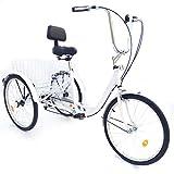 YIYIBY – Bicicleta de Ciudad, para Adultos, Triciclo, para Adultos, para IR de Compras, Ajustable 24', 3 Ruedas, 6 velocidades