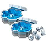 Ice Cube Tray Silicone Ice Cube Molds Dice-Shaped 2 in 1 Portable Ice Ball Maker Make and Store Fun Tray for Freezer Ice Beer Whiskey Juice Champagne Reusable Cake Ice Cream Maker Kitchen Tool (2 PCS)