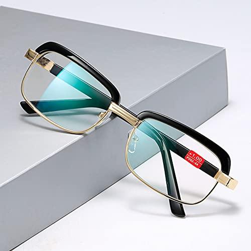 Gafas de Lectura con Montura metálica para Hombres y Mujeres Gafas de Lentes ópticas Lentes de visión HD,+2.50
