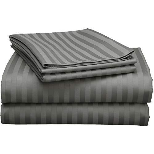 "Camper Sheets Custom Rv Sheets Best Rv Sheets Camper Sheeting Bed Sets for Bunk Beds Camper Bedding Rv Bedding Sheets Bunk Bed Odd Size Sheets 10-15"" Deep -Queen : 60"" x 80"" -Dark Grey Stripe"