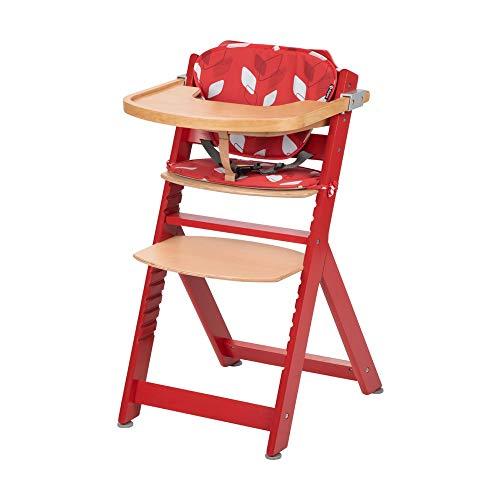 Safety 1st 2771827000 Timba Mitwachsender Hochstuhl und passendes Sitzkissen, inkl. abnehmbares Tischchen, hohe Rückenlehne, ab ca. 6 Monaten bis ca. 10 Jahre (max. 30 kg), Buchenholz, rot, 7371 g