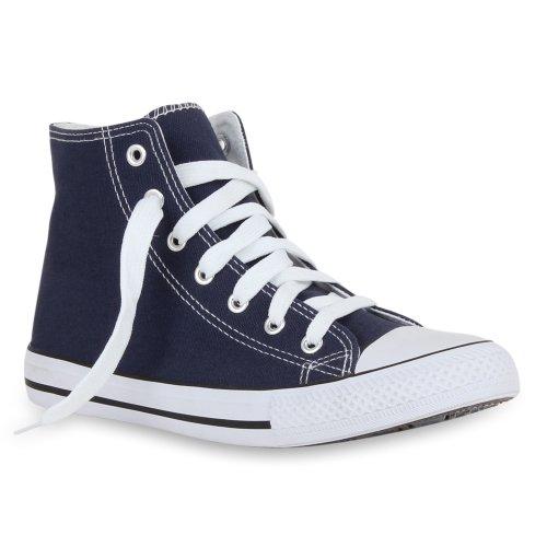 stiefelparadies Damen Schuhe High Top Sneakers Sportschuhe Schnürer Kult 44619 Blau Bernice 37 Flandell