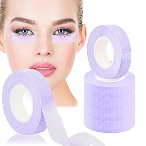 6 Rolls Lash Extension Under Eye Tape EBANKU Breathable Fabric Eyelash Tape Micropore Adhesive Tape for Eyelashes Extension Supply Individual Eye Lashes Tools (Purple)