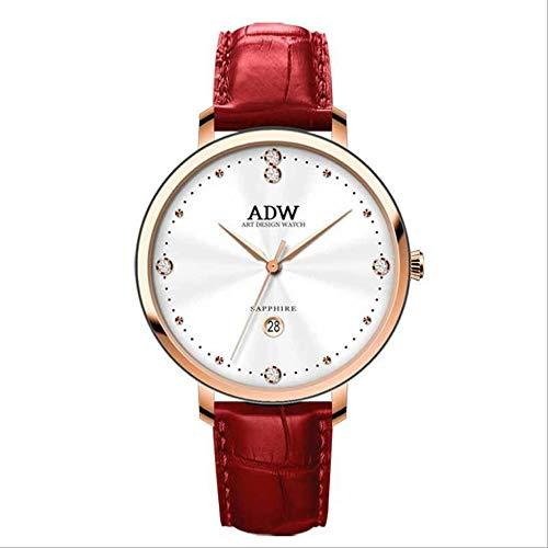Rebily 2021 Flowing Planet Air Damenuhr Rose Gold Leder Band Uhr Einfache Stil Quarz Frauen Mode Uhr 30m Wasserdicht (Color : Roségold)