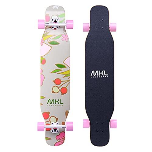 VOMI Skateboard Principiantes Cubierta de Arce de 7 Capas Tabla Skate Completo con Rodamientos de Bolas de Precisión ABEC-11, Longboard Trick Monopatín para Adultos Niñas Niños Adolescentes,E