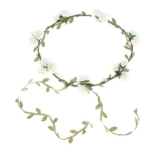 EJY Femmes Filles Serre tête Accessoire Bandeau Cheveux Mariage Floral tête Garland Plage Couronne de Fleurs (Beige)