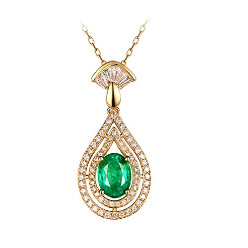 Beydodo Emerald Necklace Yellow Gold 18 carat, Wedding Day Necklace for Women Teardrop with Diamond and Emerald 1.13ct - Wedding Party Jewellery