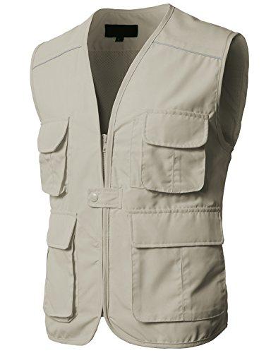 H2H Men's 9 Pockets Work Utility Vest Military Photo Safari Travel Vest Beige US 2XL/Asia 3XL (KMOV0153)