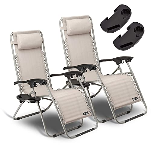 SUNMER Set of 2 Sun Lounger Garden Chairs With Cup And Phone Holder   Deck...