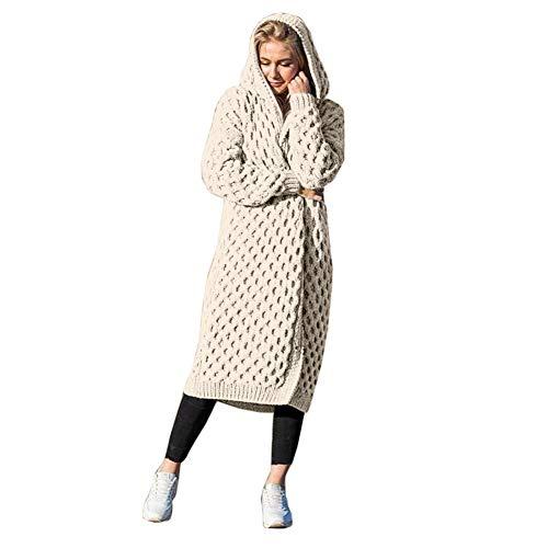 Koodred Women's Casual Open Front Long Sleeve Knit Cardigan Sweater Warm Hooded Outwear Coat White