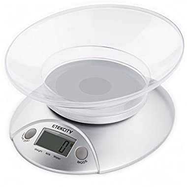 Etekcity Digital Food Scale and Multifunction Kitchen Weight Scale with Removable Bowl, 11 lb 5kg