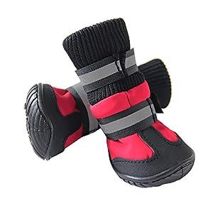 4pcs doux et chaud pour animal domestique Chien étanche antidérapant à chaussures Bottes Snow Petit Chiens de grande taille Chaussures d'hiver Ensemble