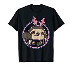 Cute Easter Sloth Bunny Ears Egg Hunting Animal Lover Gift T-Shirt