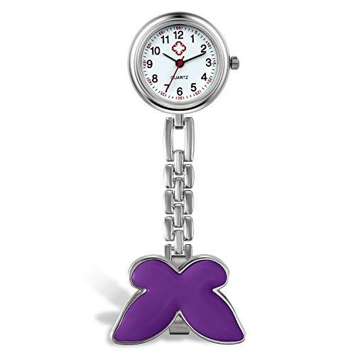 Reloj de Bosillo para Enfermera con Broche de Mariposa, Analógico, de Cuarzo, Portátil, Regalo para Doctor Mujer Niña, Avaner…