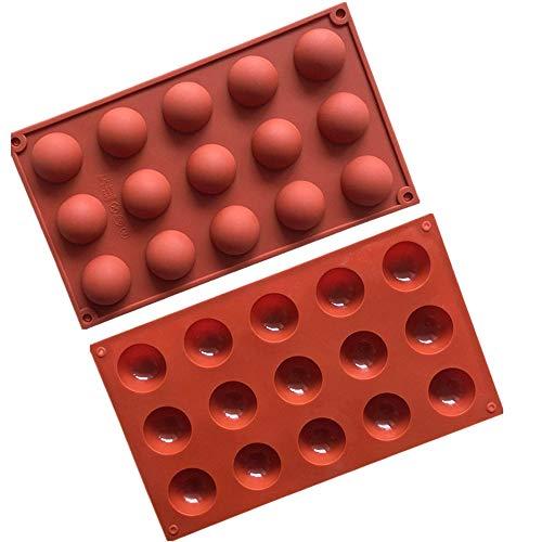Tingz 2 pièces Moule en silicone demi-sphère,modèle à gâteau,moule à pâtisserie,mini,37mm,terre cuite