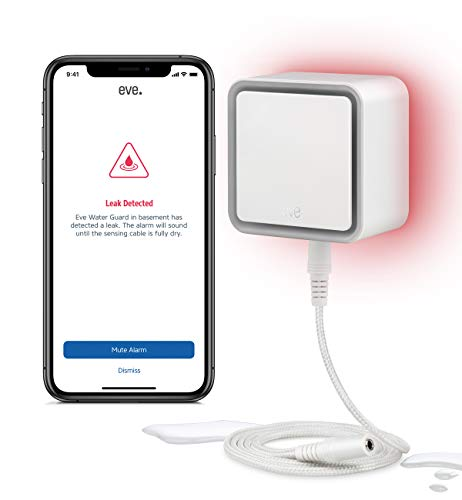Eve Water Guard - Detector inteligente de fugas de agua, cable sensor de 2 m (extensible), sirena de 100 dB, alerta de fugas de agua en el iPhone, iPad o Apple Watch (con Apple HomeKit)