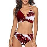 Traje de baño de dos piezas para mujer, sexy, bikini push-up, cintura alta, cruzado, parte superior y parte inferior de bikini, cuello en V, deportivo, 2 piezas A30. S