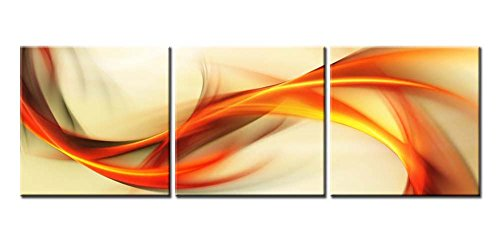 Canvas Print Wall Art Painting For Home Decor Abstract Elegant Wavy In Orange Golden White 3 Pieces Panel Paintings Modern Giclee Artwork The Picture Living Room Decoration Pictures Prints On Canvas