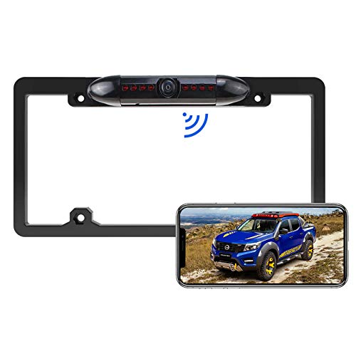 WiFi Wireless License Plate Frame Reversing Camera IR Night Vision PZ439, with IP67 Waterproof Rating, 170 Degrees Perfect Viewing Angle and 8 Infrared Night Vision Lights